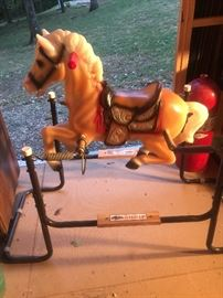Old bouncer horse from the 1960s all intact & still has stirrups have 2 of these the other has an aqua frame nice