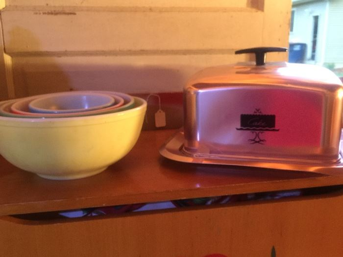 Pyrex, fire king & several bread boxes & cake servers