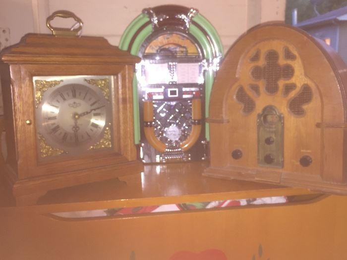 Mini juke box, beautiful clock