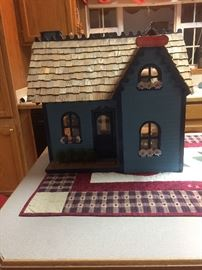 Doll house finished with shingles & furnishing