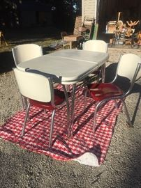 1950's Metal Table & Chairs totally redone with leaf insert