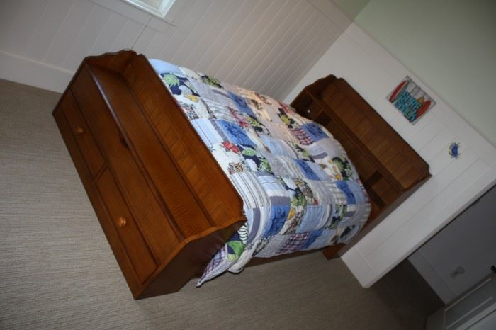 Trundle double bed with bench and headboard--$350.00