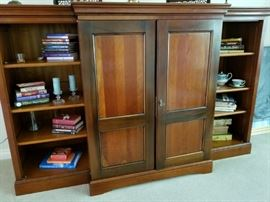 Solid wood armoire with bookcases