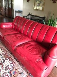 All leather red sofa
