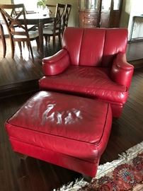 All leather chair and ottoman