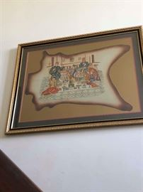 Antique framed painting on leather art from Persia