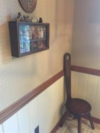 STOOL  AND WALL CURIO  SMALL.