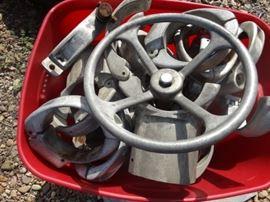 1 Tote full of aluminum pipe fittings  steering whe ...