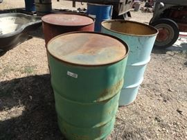 3 metal 55 gallon barrels
