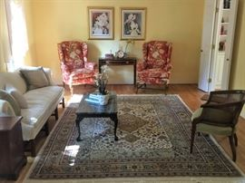 Antique Marble top coffee table, tilt top side table, pair of classic wingback chairs