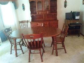 American Drew Dining Room Set with Breakfront China Cabinet, Table & 6 Chairs