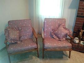 2 Vintage Mid Century Danish Modern Yugoslavia Wood Lounge Arm Chairs