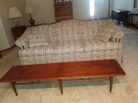 """Living room Couch, Lane """"Acclaim"""" Line Mid Century Wood Danish Modern Inlaid Wood Coffee Table & End Table (Altavisa, Virginia)Mid 1960's All Original - Living Room Couch"""