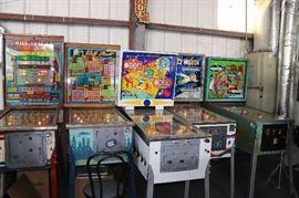 Working pinball machines.