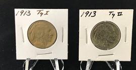 Buffalo Nickels - 1913 T1, 1913 T2