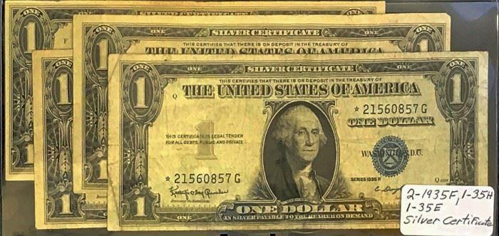 $1 Star Silver Certificates- 2 1935-F, 1 1935-H, 1 1935-E