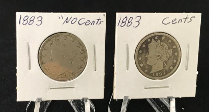 """V Nickels - 1883 """"No Cents"""", 1883 w/Cents"""