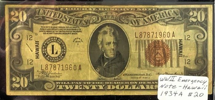 1934-A, WWII Emergency $20 Note- Hawaii
