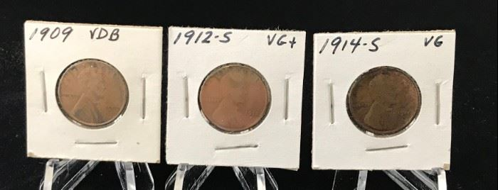Lincoln Cents- 1909 VDB, 1912-S, 1914-S