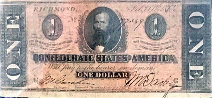$1 Confederate Note 1864