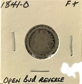 Seated Liberty Dime, Open Bud Reverse, 1841-O