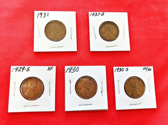 Lincoln Cents- 1929-S, 1930, 1930-S, 1931, 1931-S
