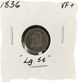 """1836 Large """"5 Cents"""" Capped Bust Half Dime"""