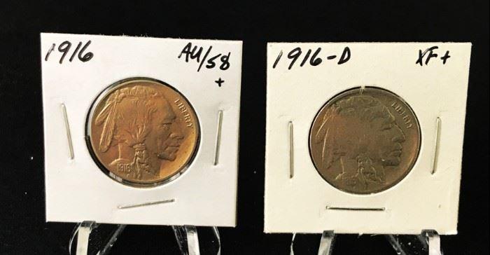 Buffalo Nickels, 1916, 1916-D