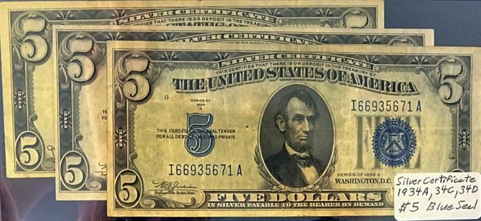 $5 Silver Certificates- 1934, 1934 A, 1934 D