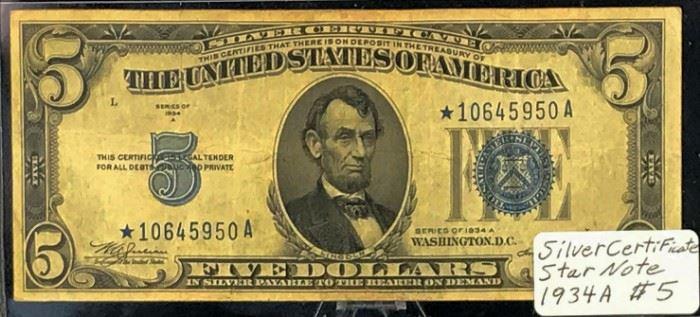 $5 STAR Silver Certificate, 1934 A