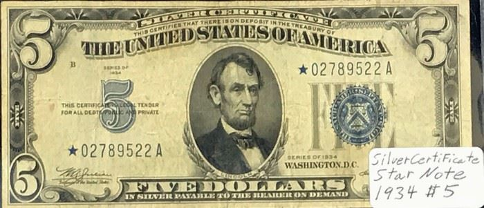 $5 STAR Silver Certificate, 1934