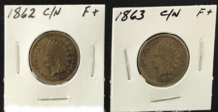 Indian Cents- 1862 CN, 1863 CN