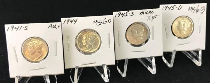 Mercury Dimes 1941-S, 1944, 1945-S Micro, 1945-D