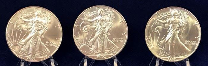 American Silver Eagles, 1987, 2001, 2002
