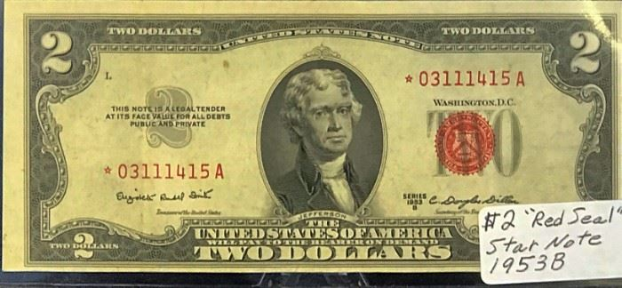 $2 STAR United States Note, Red Seal, 1953 B