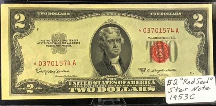 $2 STAR United States Note, Red Seal, 1953 C