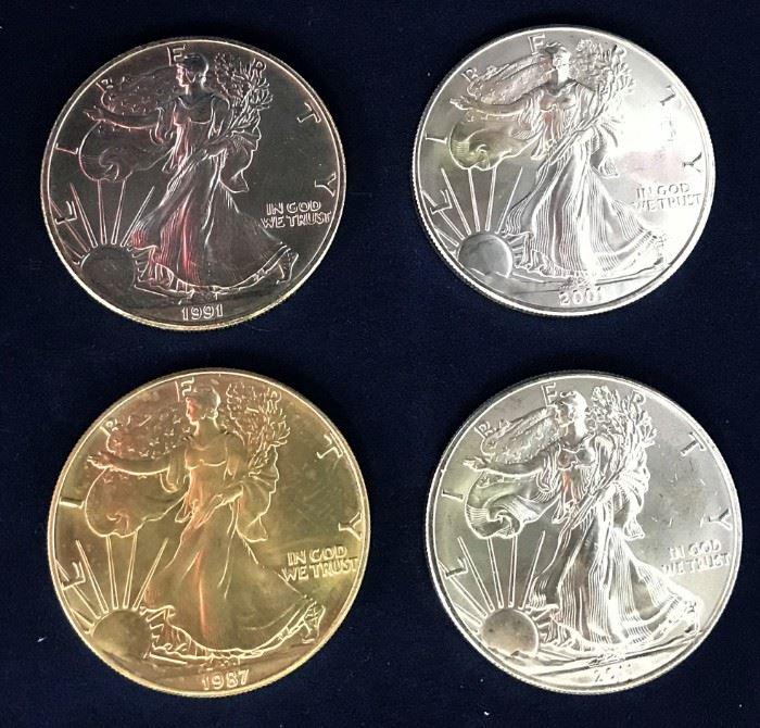 American Silver Eagles, 1987, 1991, 2001, 2011
