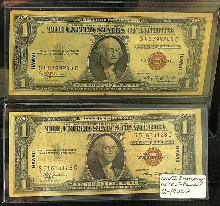 2- 1935 A, WWII Emergency $1 Notes- Hawaii