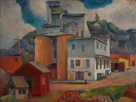 Lot #6 Dewey Albinson (1898 - 1971). Oil on canvas titled Tierney Mills depicting a grain mill. Signed along the lower left.  Provenance: Private collection, Minnesota.  Literature: Dave Kenney, The Grain Merchants: an Illustrated History of the Minneapolis Grain Exchange, 2006, p. 121.  Dimensions: Unframed; height: 30 1/4 in x width: 40 in. Framed; height: 36 in x width: 45 1/2 in.