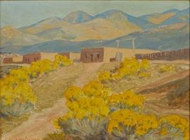 Lot #9 Sheldon Parsons (1866 - 1943). Oil on board depicting the Santa Fe foothills. Signed along the lower left. The verso bears a Nedra Matteucci Galleries label, as well as an Artists' Crossroads label.  Provenance: Nedra Matteucci Galleries                       Collection of Judith Balderson, Minnesota.  Dimensions: Unframed; height: 9 in x width: 12 in. Framed; height: 15 1/2 in x width: 18 1/2 in.