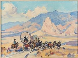 Lot #11 Marjorie Reed (1915 - 1996). Oil on canvas-laid board titled Pioneers--Westward Ho! Painting is signed along the lower left, and further signed and titled along the verso.  Provenance: Private collection, Minnesota.  Dimensions: Unframed; height: 9 1/4 in x width: 12 in. Framed; height: 17 1/2 in x width: 20 1/4 in.