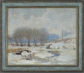 Lot #2 Nicholas Brewer (1857-1949). Oil on canvas depicting a winter landscape of a snowy river and trees. Signed along the lower left.  Provenance: Private collection, Minnesota. Dimensions: Unframed; height: 21 in x width: 24 in. Framed; height: 24 1/2 in x width: 28 1/2 in.