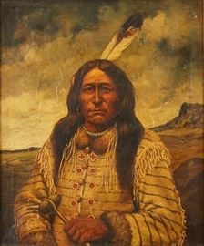 Lot #8 Henry H. Cross (1837 - 1918). Oil on canvas portrait titled Scout Long Feather Sioux. Painting is signed and titled along the upper left. Provenance: Private collection, Minnesota. Dimensions: Unframed; height: 30 in x width: 24 1/2 in. Framed; height: 31 in x width: 29 in.