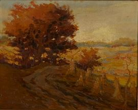 Lot #4 Carl Rawson (1884 - 1970). Oil on canvas-laid board depicting a landscape of autumn trees, corn shocks, and fields. Signed along the lower right and dated '20.  Provenance: Private collection, Minnesota.  Dimensions: Unframed; height: 15 3/4 in x width: 19 3/4 in. Framed; height: 21 1/4 in x width: 25 1/2 in.