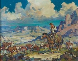 Lot #10 Marjorie Reed (1915 - 1996). Oil on canvas-laid board titled Night Herd depicting a cowboy with his herd in a mountainous landscape. Painting is signed along the lower left. Painting is titled on the verso.  Provenance: Private collection, Minnesota.  Dimensions: Unframed; height: 16 in x width: 20 in. Framed; height: 24 1/2 in x width: 28 1/4 in.
