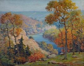 Lot #3 Carl Rawson (1884 - 1970). Oil on canvas depicting a vista of the St. Croix river through autumn trees, c. 1935. Signed along the lower right.  Provenance: Private collection, Minnesota. Dimensions: Unframed; height: 25 in x width: 32 in. Framed; height: 30 3/4 in x width: 37 3/4 in.