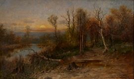 Lot #7 John Fery (1859 - 1934). Oil on canvas depicting an autumnal landscape with trees overlooking a river at sunset. Painting is signed along the lower right. Provenance: Private collection, Minnesota.  Dimensions: Unframed; height: 18 in x width: 30 in. Framed; height: 24 in x width: 36 in.