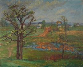 "Lot #1 Ada Wolfe (1878 - 1945). Oil on canvas titled ""Spring,"" depicting a landscape with trees, a river, and a village. Signed and dated 1941 along the lower left. Further signed and dated on the verso, and inscribed with the title and artist's address.  Provenance: Private collection, Minnesota.  Dimensions: Unframed; height: 34 1/4 in x width: 42 in. Framed; height: 38 1/2 x width: 46 3/4 in."