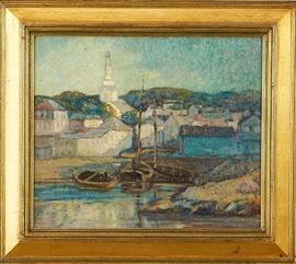 Lot #5 Knute Heldner (1877 - 1952). Oil on board with thickly painted impasto depicting a cityscape of Gloucester. Painting is signed along the lower right. Knute Heldner was a Swedish immigrant to the United States, working primarily in Duluth, Minnesota and New Orleans, painting the landscapes and people in these places. His work won high acclaim, with one painting even being hung in the White House. His wife, Colette Pope Heldner, was also an artist. Provenance: Private collection, Minnesota.  Dimensions: Sight; height: 15 in x width: 17 1/2 in. Framed; height: 21 1/4 in x width: 23 3/4 in.