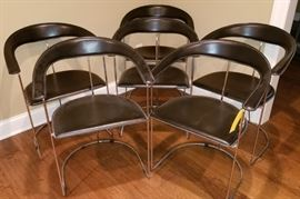 Chrome and Black Dining Chairs